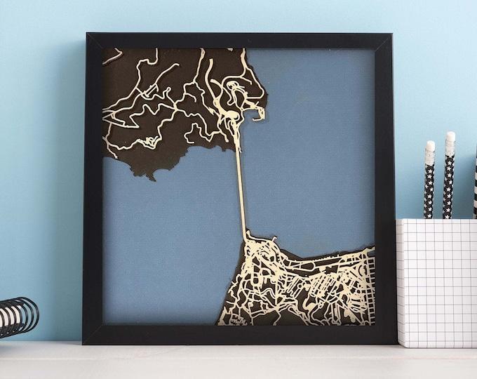"Golden Gate Bridge San Francisco Map  | Minimal Birch Wood and Matboard 3D Laser Cut Map | Wall Art | 10""x 10"" | Home & Office Decor"