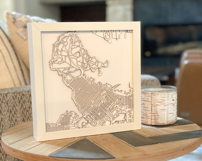 """Downtown Vancouver Stanley Park Minimal White 3D Laser Cut Map   Wall Art   10""""x 10"""" White Frame w/Hook   Home and Office Decor   Gastown"""