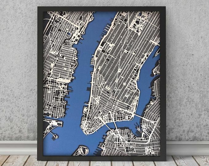"New York City Map Minimal Birch Wood Blue/Black Matboard Map | 3D Laser Cut Map | Wall Art | 16""x 20"" Black Frame w/Hook"