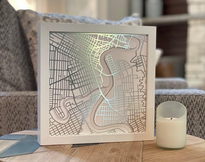 "Winnipeg Manitoba Minimal White Stainless Steel 3D Laser Cut Map | Wall Art | 10""x 10"" White Frame w/Hook | Home Office Decor | Assinaboine"