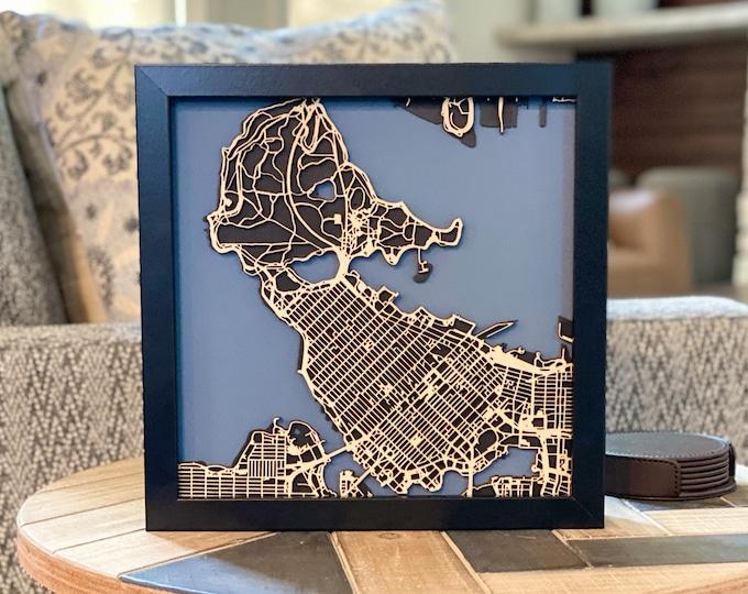 "Downtown Vancouver Stanley Park Minimal Black & Blue Matboard 3D Laser Cut Map   Wall Art   10""x 10"" Black Frame w/Hook   Home Office Decor"