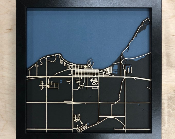 "Gimli Manitoba Minimal Birch Wood Black & Blue 3D Laser Cut Map | Wall Art | 10""x 10"" Black Frame w/Hook 