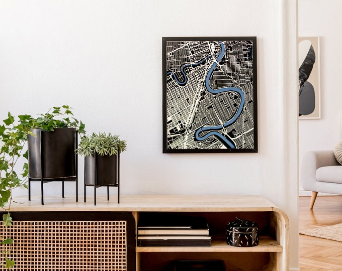 """Customized 16""""x 20"""" Laser Cut Map 