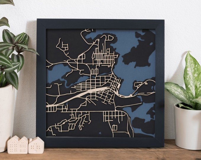 "Kenora Lake of The Woods Minimal Birch Wood Black and Blue 3D Laser Cut Map | Wall Art | 10""x 10"" Black Frame w/Hook 