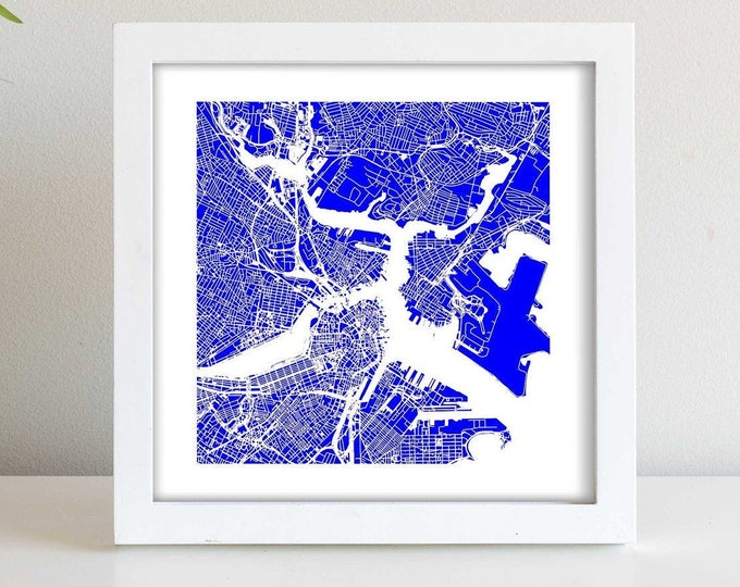 """Boston Massachusetts Framed City Blue Map Print 