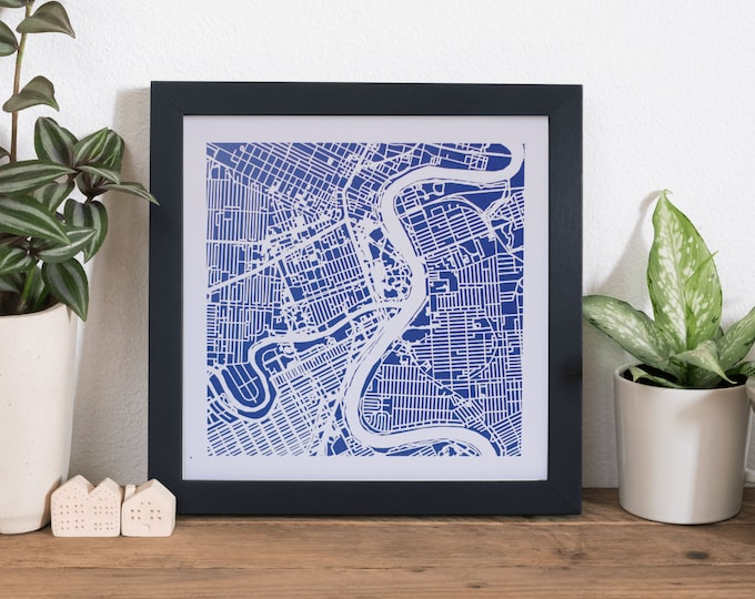 "Framed Winnipeg City Blue Print Map | Wall Art | 10""x 10"" Black Frame w/Hook 