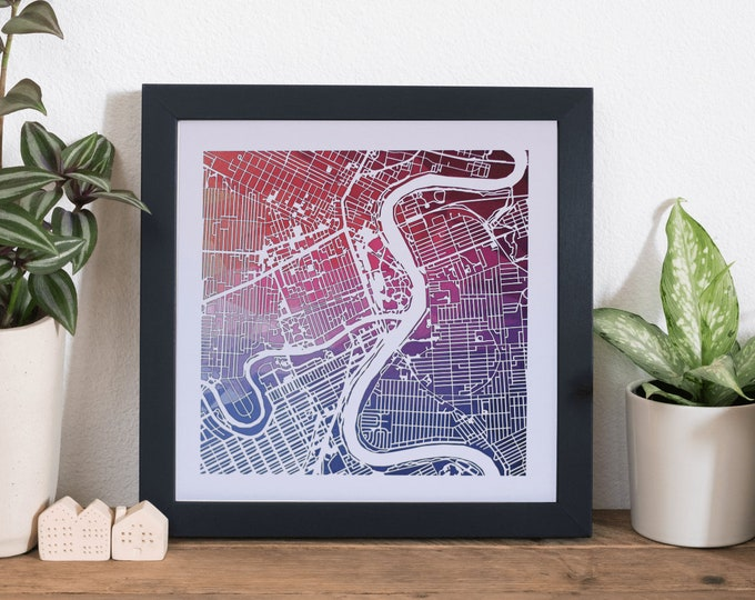 "Framed Winnipeg City Ombre Multicolored Print Map | Wall Art | 10""x 10"" Black Frame w/Hook 