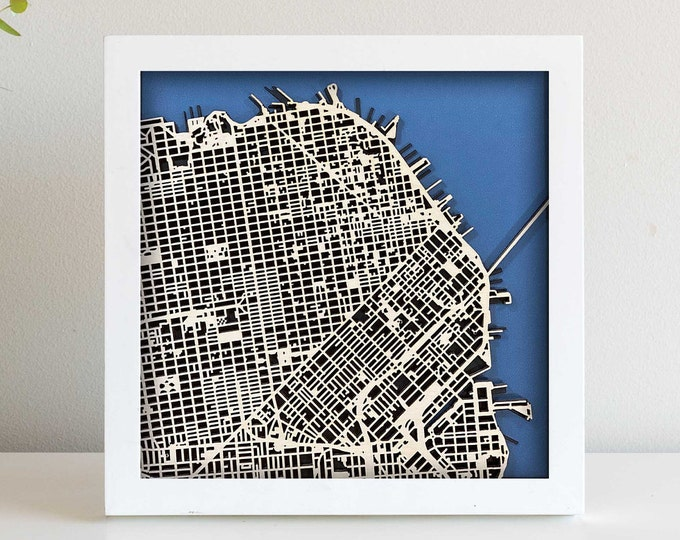 "San Francisco Map  | Minimal Birch Wood and Matboard 3D Laser Cut Map | Wall Art | 10""x 10"" Black Frame w/Hook 
