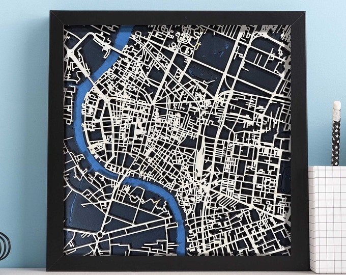 "Bangkok Thailand Map  | Minimal Birch Wood and Matboard 3D Laser Cut Map | Wall Art | 10""x 10"" Black Frame w/Hook 