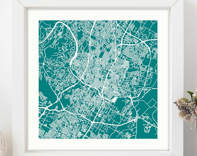 """Framed Austin Texas City Teal Map Print 