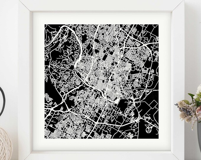 """Framed Austin Texas City Map Print 