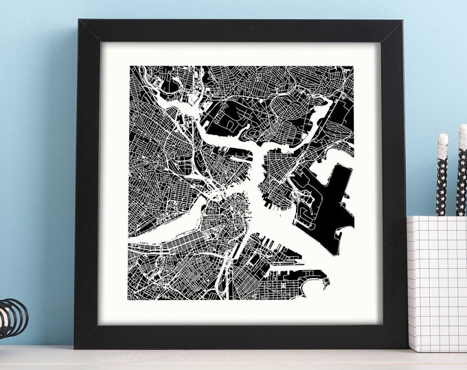 """Boston Massachusetts Framed City Black Map Print 