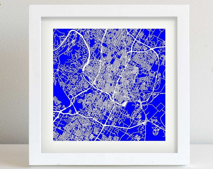 """Framed Austin Texas City Blue Map Print 
