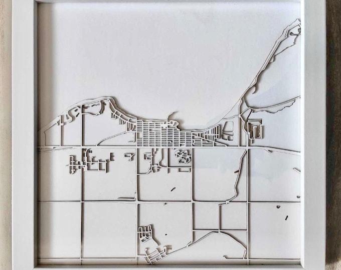 "Gimli Manitoba Minimal White 3D Laser Cut Map   Wall Art   10""x 10"" White Frame w/Hook   Home and Office Decor   Lake Winnipeg Map"