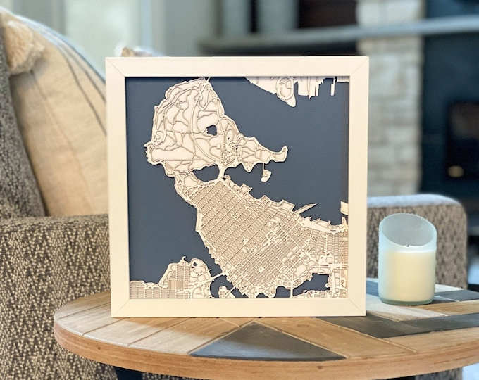 "Downtown Vancouver Stanley Park Minimal White and Blue 3D Laser Cut Map | Wall Art | 10""x 10"" White Frame w/Hook 