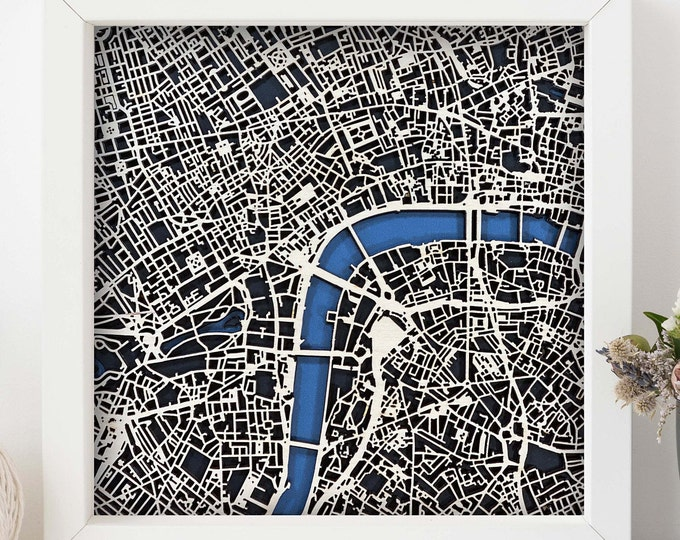 """London England Map w/White Frame 