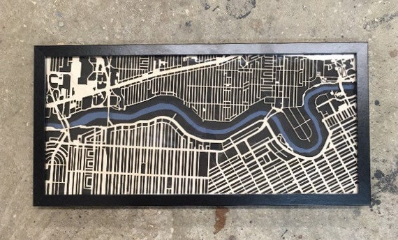 "Winnipeg Laser cut map. 10""x20"" framed"