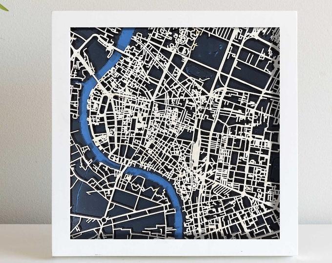 "Bangkok Thailand Map  | Minimal Birch Wood and Matboard 3D Laser Cut Map | Wall Art | 10""x 10"" White Frame w/Hook | Home & Office Decor"
