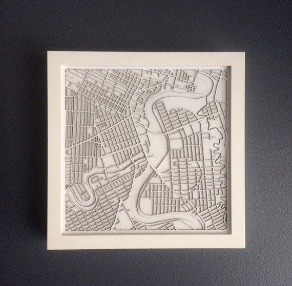 "City of winnipeg map art.  These maps are laser cut from white mateboard and come framed. Made in Winnipeg Manitoba. 9""x9"""