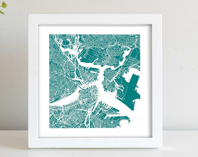 """Boston Massachusetts Framed City Teal Map Print 