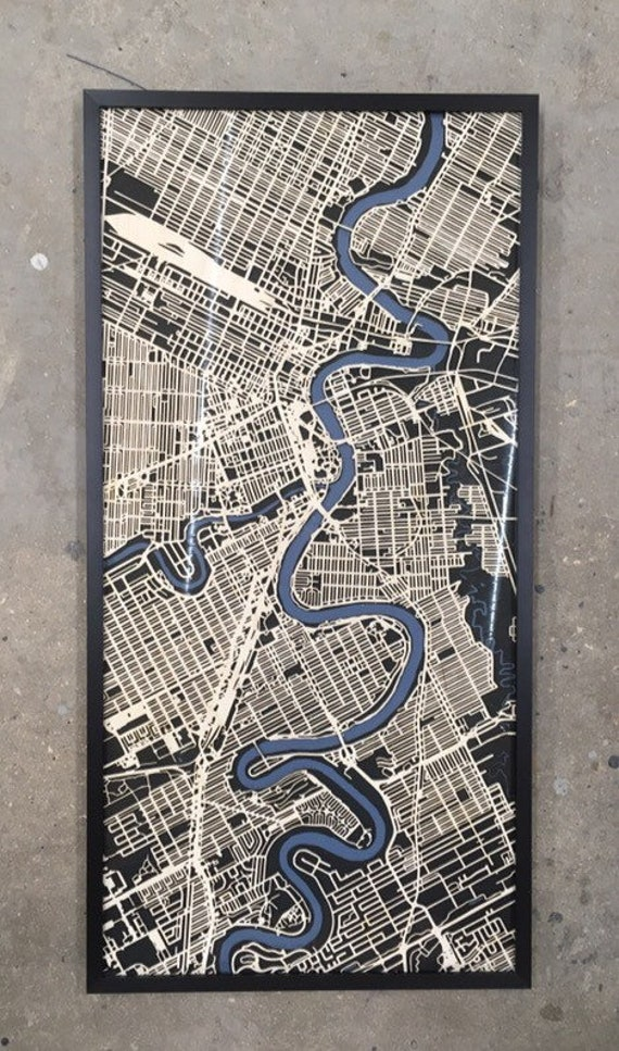 "Winnipeg Laser cut map. 24""x48"" framed"