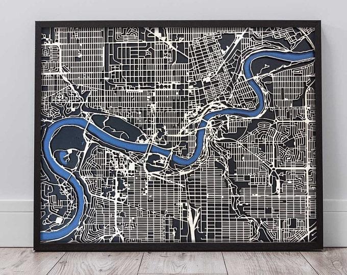 "Edmonton Alberta 16""x 20"" Map With Black Frame | Birch Wood Blue and Black Matboard | 3D Laser Cut Map | Wall Art | Home & Office Decor"