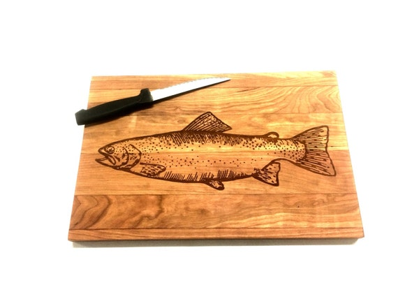 Laser etched cutting board (trout)