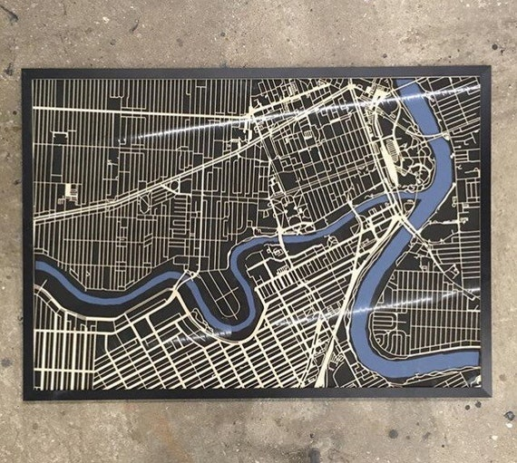 "Winnipeg Laser cut map. 28""x40"" framed"