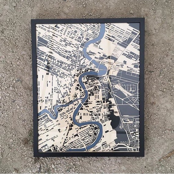 "Winnipeg Laser cut map. 16""x20"" framed"
