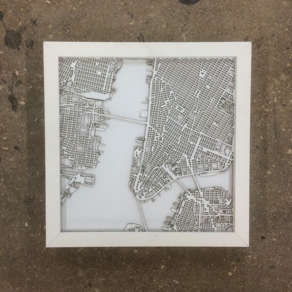 "New York maps, NYC map. These maps can be customizable to any city in the world. 10""x10"""