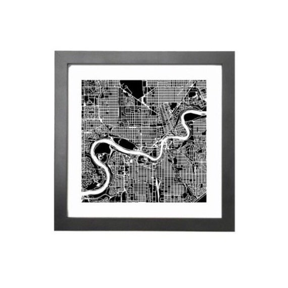 "Edmonton maps print, 10""x 10"" comes framed. Black in colour"