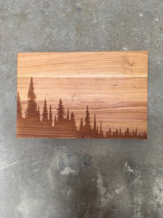 "Laser etched cutting boards, wilderness themed set large boards are 10""x15"""