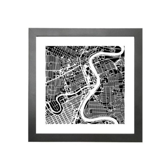 "Winnipeg maps print, 10""x 10"" comes framed. Black in colour"