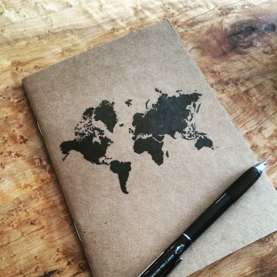 World design Kraft notebook notepad, Perfect travel journal, sketchbook, or for writing, great gift for her.