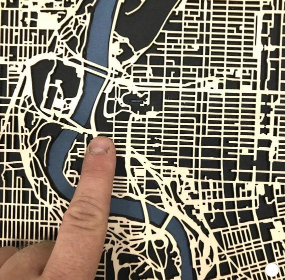 "Custom 16""x20"" laser cut map - Any location you want"