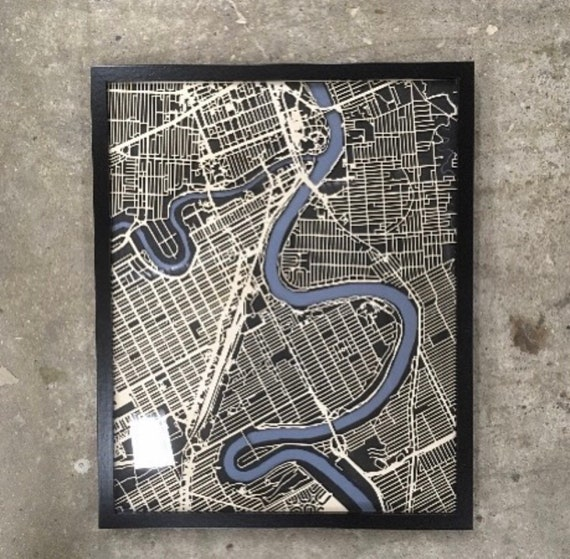 "Winnipeg map art, These maps are laser cut from baltic birch and mateboard in Winnipeg Manitoba. 16""x20"""