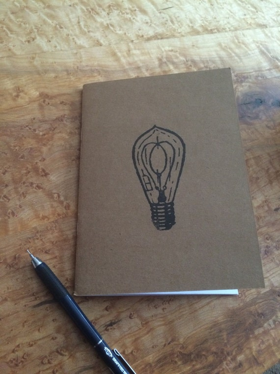 Lightbulb handmade Kraft notebooks, notepads & journals made from recycled kraft cardstock and hand stamped with ink.