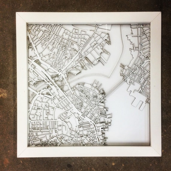 "Boston Laser cut maps. These maps can be customizable to any city in the world. 10""x10"""