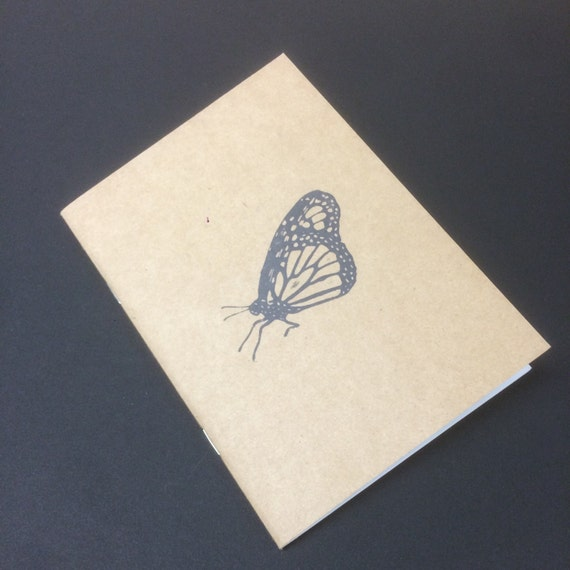 Kraft notebook monarch butterfly notepad, Perfect travel journal, sketchbook, or for writing, great gift for her.