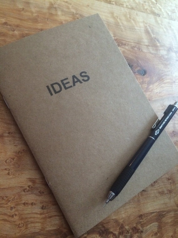 handmade ideas notebooks, notepads & journals made from recycled kraft cardstock and hand stamped with ink.