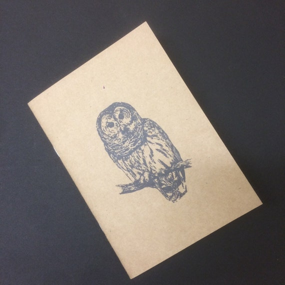 Owl notepad, kraft notebook Perfect travel journal, hand-stamped sketchbook, or for writing, great gift for the explorer in your life.