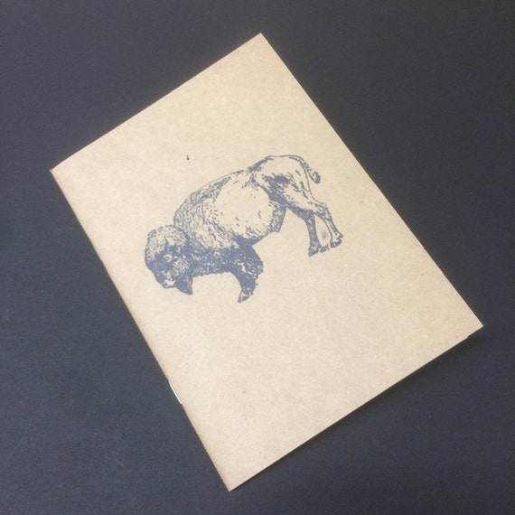 Bison or buffalo notepad, Perfect travel journal, sketchbook, or for writing, great gift for the explorer in your life