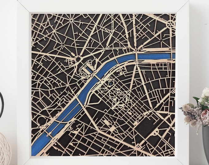 """Eiffel Tower Paris France 10""""x 10"""" Map w/White Frame 