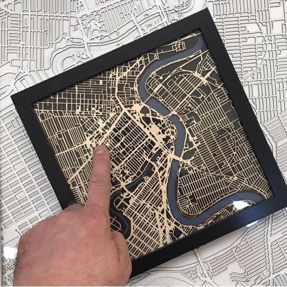 "City of winnipeg map art.  These maps are laser cut from Baltic Birch and come framed. Made in Winnipeg Manitoba. 9""x9"""