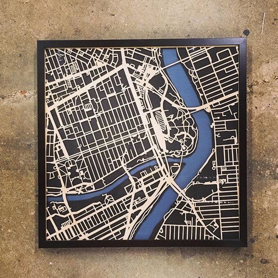"Winnipeg Laser cut map. 20""x20"" framed"