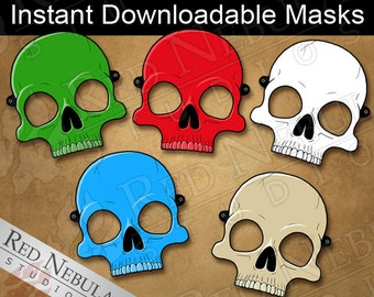 Colorful Skull Masks Instant Digital Download Printable Paper Mask Red Green Blue And Bone Party Childrens Coloring