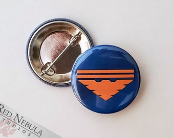 """Garrus Vakarian Archangel Button, Magnet, or Keychain, 1.25"""", Blue Mass Effect Garrus Pinback Button with Gold Archangel Symbol"""