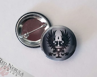 """Grey Warden Button, Magnet, or Keychain, 1.25"""", Warden Griffons and Chalice Dragon Age Pinback Button"""