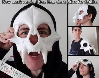 Big Cat Skull Mask, Jaguar Skull Face Mask, Feline Blank Cast Resin Skull in White or Black, Scary Cat Skeleton Mask, Tiger, Lion, Leopard