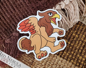 """Baby Griffon 3"""" Vinyl Sticker - Kawaii Griffin, Gryphon Mythology Sticker, Waterproof and with UV Protection"""